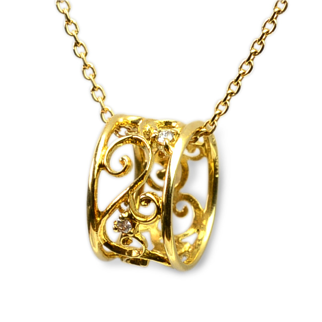 (RERALUy)ネックレス レディース 女性 アクセサリー 18金 K18 18k イエローゴールド ・エタニティ アラベスク ダイヤモンドネックレス rne1102