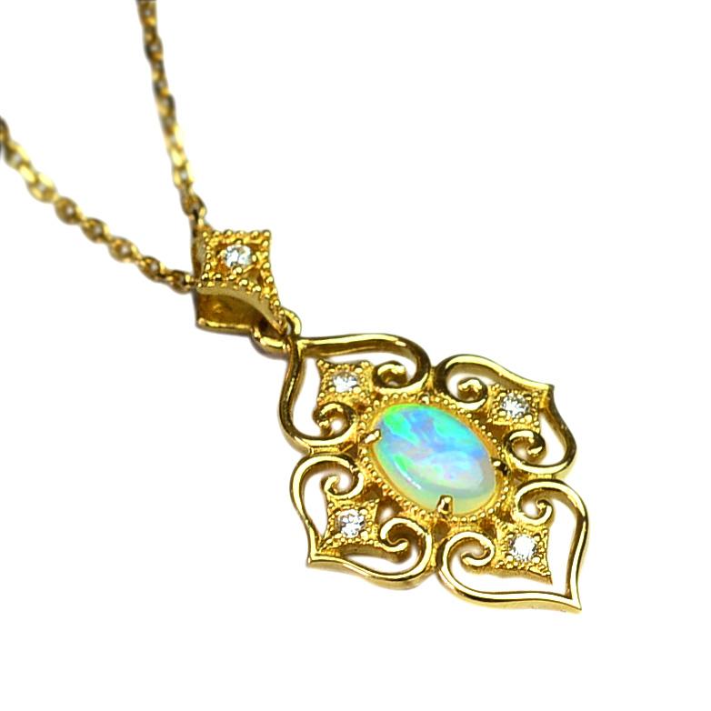 k18ネックレス (RERALUy)ネックレス レディース 女性 18金 K18 18k ゴールド ・オパール & ダイヤモンド 0.05ct ハート アラベスク イエローゴールド アンティーク風 ペンダント rne1105 プレゼント ギフト