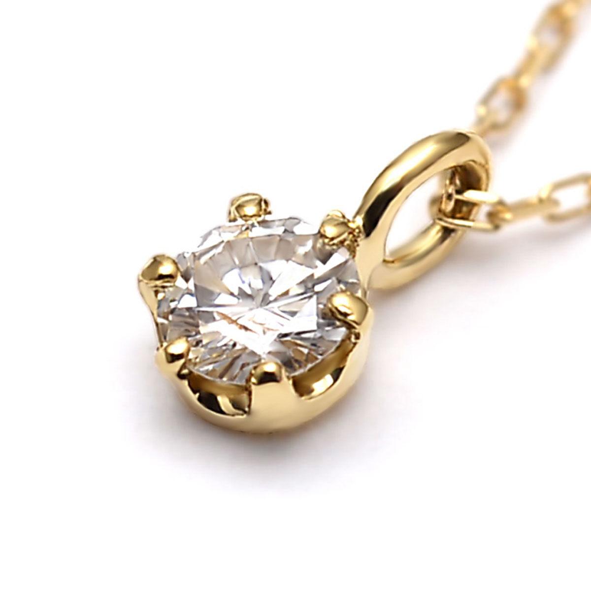 k18ネックレス 18k ネックレス チェーン ゴールド 18金 ペンダントトップ k18 (RERALUy) レディース 女性 アクセサリー イエローゴールド ・一粒 ダイヤモンド 0.08ct ペンダント rne1382