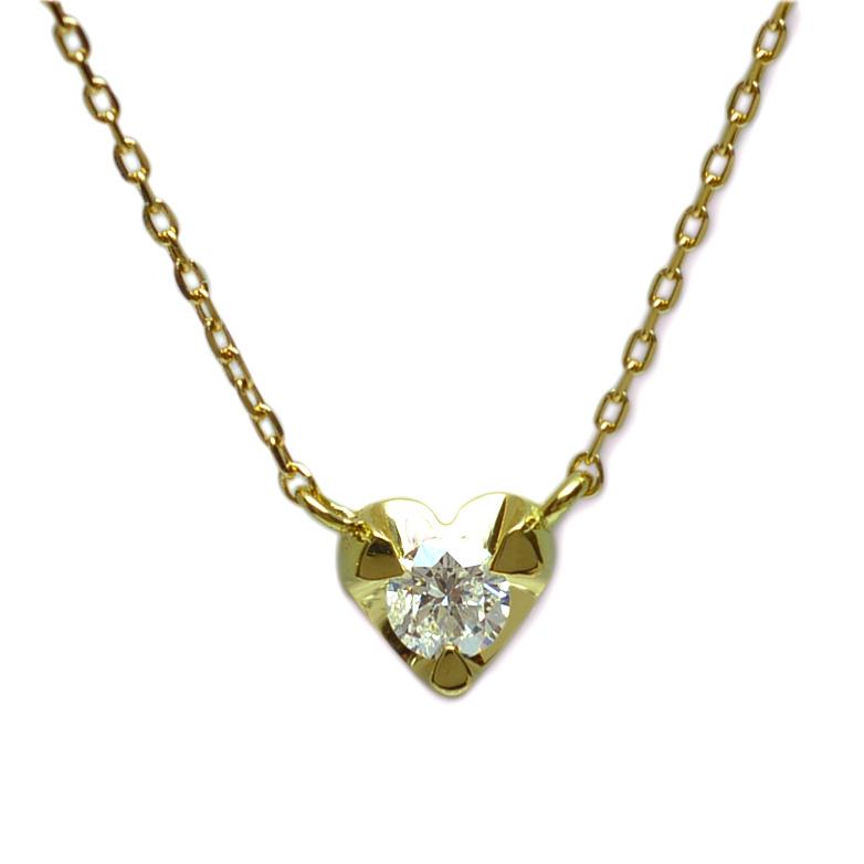 (RERALUy)ハート ネックレス レディース 女性 K18 金 イエローゴールド ダイヤモンド0.10ct プチハート ペンダントネックレス rpd4616