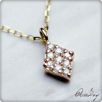 (RERALUy)レディース 女性 アクセサリー ネックレス 10金 K10 ゴールド ・菱形 ダイヤモンド イエローゴールド ペンダント rpd5494