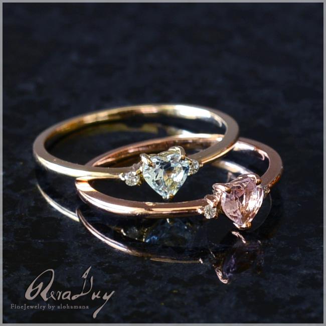 (RERALUy)リング 指輪 レディース 女性 10金 K10 18金 K18 18k ・ハートシェイプ アクアマリン ピンクトルマリン ダイヤモンド 0.01ct リング rri1266