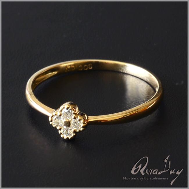 (RERALUy)リング 指輪 レディース 女性 10金 K10 18金 K18 18k イエローゴールド ・ダイヤモンド 0.08ct クローバー リング rri1269