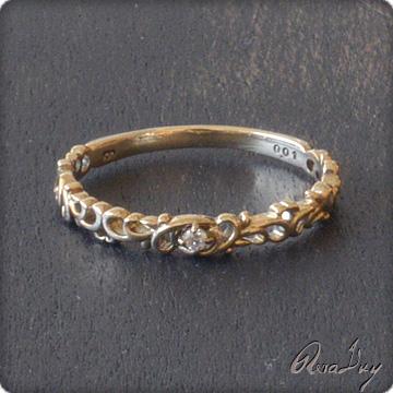 (RERALUy)リング 指輪 レディース 女性 10金 K10イエローゴールド・ハートアラベスク プチダイヤモンド ピンキーリング ・ファランジリング・ミディリング rri8045