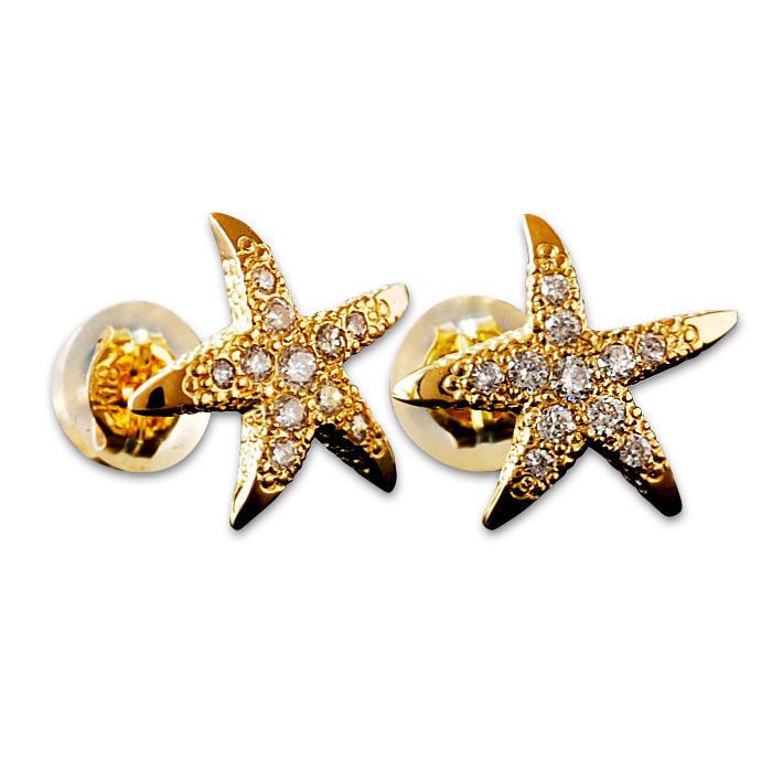 ヒトデ ダイヤモンド ピアス ハワイアンジュエリー アクセサリー レディース 女性 メンズ 男性 [Weliana]K18 ゴールド スターフィッシュの上質ダイヤモンド0.16ct スター ゴールドピアス スタッド wner022 プレゼント ギフト