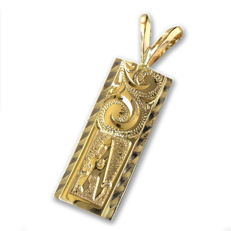 ゴールドネックレス ネックレス ハワイアンジュエリー イニシャルネックレス アクセサリー レディース 女性 メンズ 男性 (Weliana) オーダーメイド K14ゴールド デュアルトーン イニシャルプレート ・ペンダント wpd1056 プレゼント ギフト gold necklace
