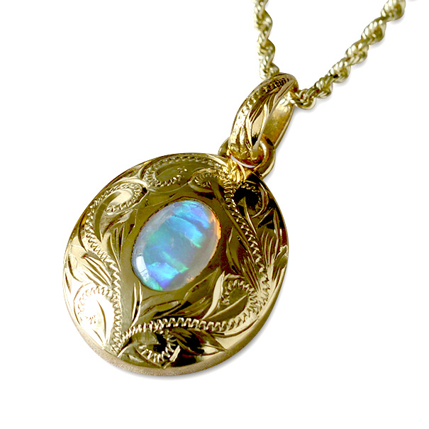 ゴールドネックレス ネックレス ハワイアンジュエリー アクセサリー レディース 女性 (Weliana) K18 18k ゴールド スクロール アンティーク オーバル ペンダント オパール または ロイヤルブルームストーン 18金 (付属チェーンなし) wpd1284/ gold necklace