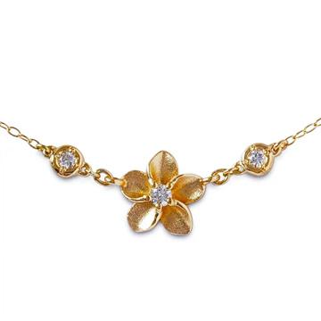 ネックレス ハワイアンジュエリー アクセサリー レディース 女性 (Weliana) K18 18k 18金 ゴールド ・プルメリア・ダイヤモンド イエローゴールド ペンダント シンプル 華奢 wpd3361 プレゼント ギフト
