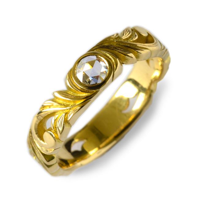 ダイヤモンド リング 指輪 ハワイアンジュエリーレディース 女性 (weliana) K18 18k 18金 ゴールドイエロー カットアウト ローズカット ダイヤモンド リーフ リング wri1362/新作