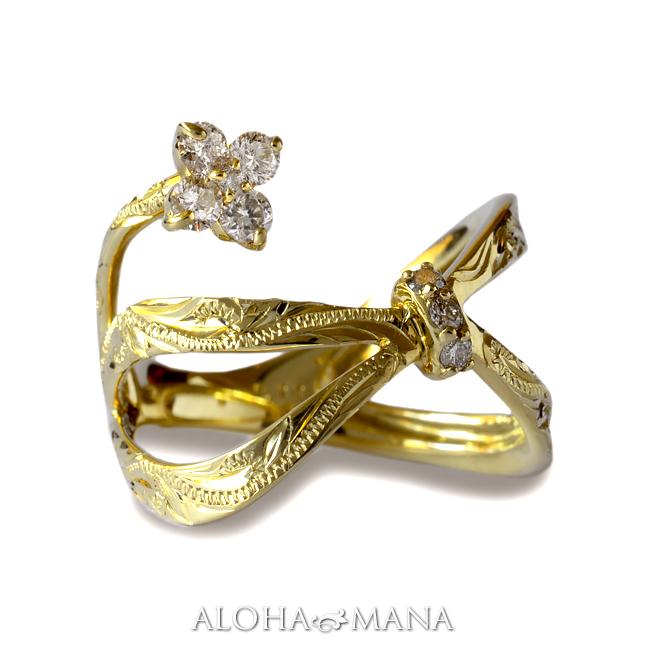 ダイヤモンド リング 指輪 ハワイアンジュエリーレディース 女性 (weliana) K18 18k 18金 ゴールドLipine リボン フラワー ダイヤモンド リング イエローゴールド wri1383/新作