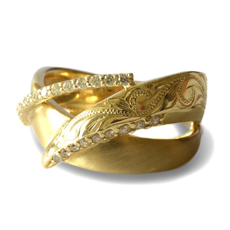 ダイヤモンド リング 指輪 ハワイアンジュエリーレディース 女性 (weliana) K18 18k 18金 ゴールドPILILANI ダイヤモンド ピンキー リング イエローゴールド wri1384/ プレゼント ギフト