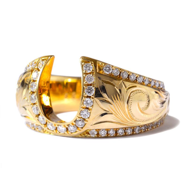 ダイヤモンド リング 指輪 ハワイアンジュエリーレディース 女性 (weliana) K18 18k 18金 ゴールド リッチバレル ホースシュー 馬蹄 幸運 ダイヤモンド リング イエローゴールド wri1385/ プレゼント ギフト