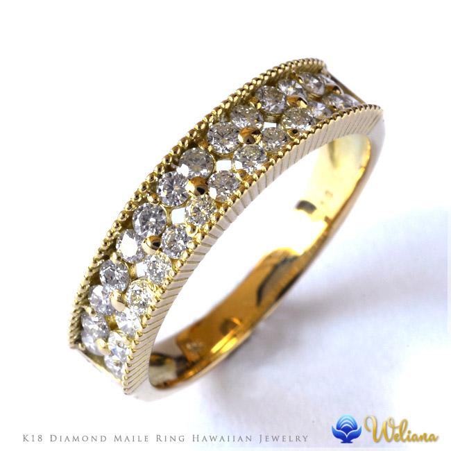 ダイヤモンド リング 指輪 ハワイアンジュエリーレディース 女性(weliana) K18 18k 18金 ゴールド ハーフ エタニティ マイレ ダイヤモンド リング イエローゴールド wri1399/新作