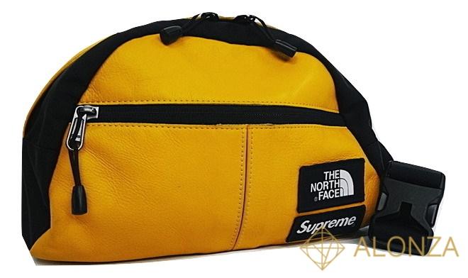 【送料無料】 【中古】【Bランク】SUPREMExTHE NORTH FACE 17aw Leather Roo 2 Lumbar Pack(Y) レザー ウエストバッグ