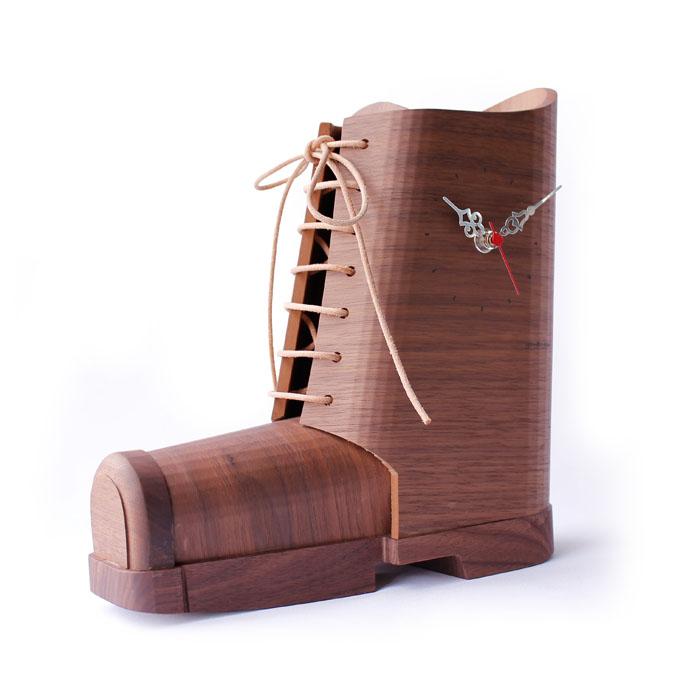 置時計 インテリアクロック ヤマト工芸 ブーツクロック ブラウン YK19-003 / wooden boots clock