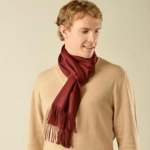(送料無料)新着商品 世界最高位の毛織物「ビクーニャ」の高級マフラー ボルドー(濃赤)