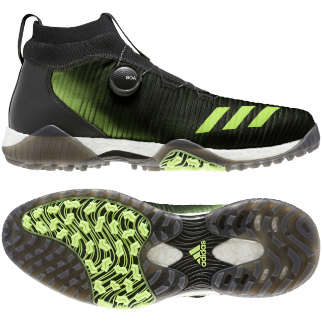アディダス 世界の人気ブランド ゴルフシューズ コードカオス ボア EPC16 新登場 メンズ adidas ダイヤル式スパイクレスシューズ ゴルフ 2E ブラック×グリーン