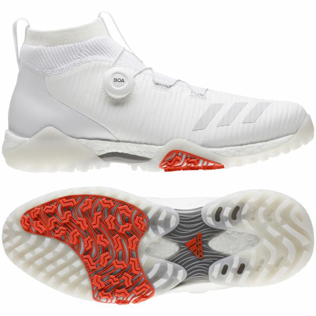 アディダス 早割クーポン ゴルフシューズ コードカオス ボア EPC16 メンズ 2E adidas 受注生産品 ダイヤル式スパイクレスシューズ ゴルフ ホワイト