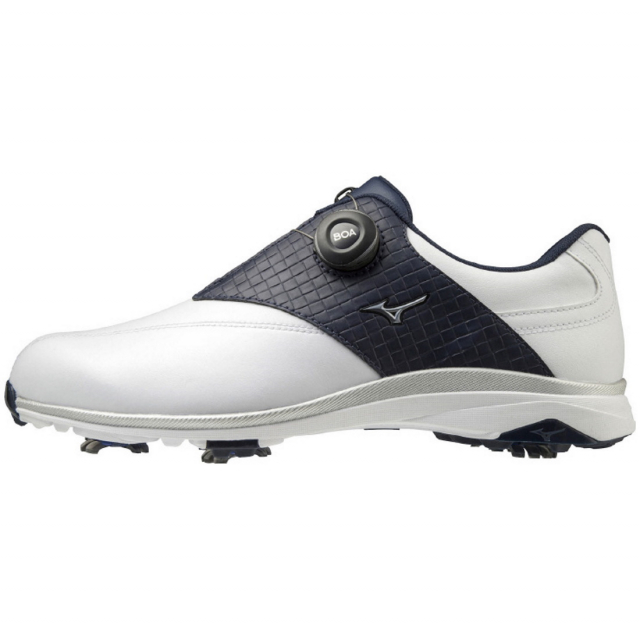 ミズノ ゴルフシューズ 与え WIDE STYLE ワイドスタイル 003 ボア 51GQ204022 メンズ 4+1Eの幅広ゆったり設計 ホワイト×ネイビー ゴルフ ダイヤル式スパイク 新作続 MIZUNO