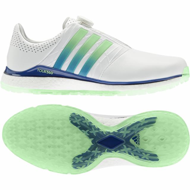 アディダス ゴルフシューズ 店 正規店 ツアー360 XT-SL ボア 2 GVS00 ホワイト×ブルー メンズ ゴルフ adidas ダイヤル式スパイクレスシューズ 3E
