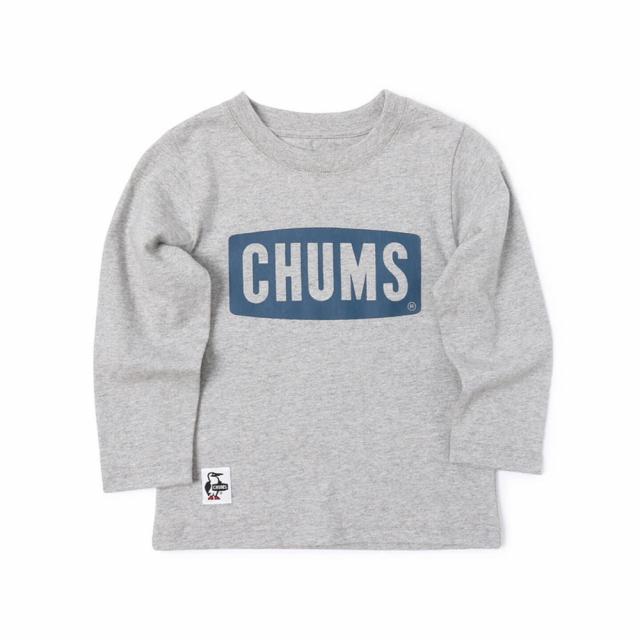 チャムス 定番 ジュニア キッズ 子供 アウトドア 長袖Tシャツ 本物 ボートロゴロングスリーブTシャツ : CHUMS CH21-1066 G009 グレー