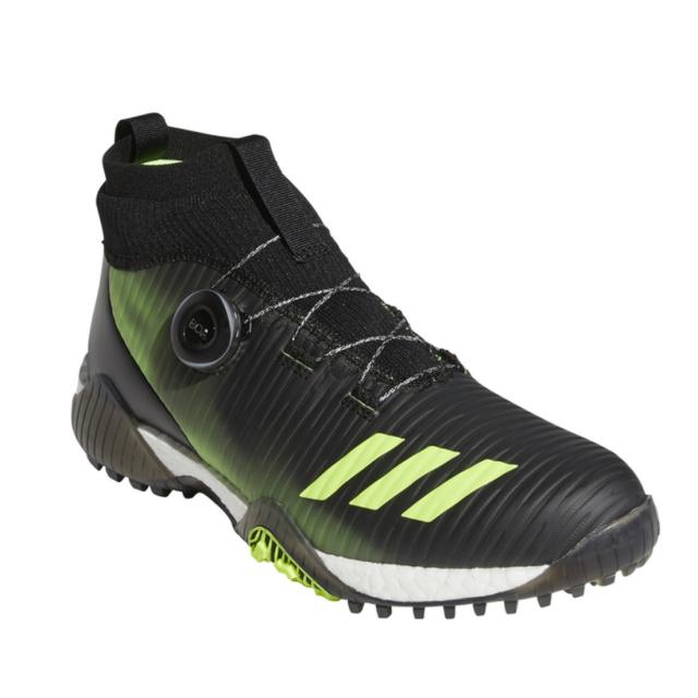 アディダス レディース ゴルフシューズ ウィメンズコードカオスボアミッド_ 販売 LSO62 ゴルフ ブラック×グリーン adidas : ダイヤル式スパイクレスシューズ 2E 豊富な品