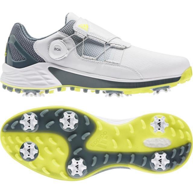 アディダス ゴルフシューズ ZG 値引き ゼットジー21 ボア 大規模セール KZI02 ホワイト×イエロー adidas 3E ダイヤル式スパイクシューズ ゴルフ メンズ
