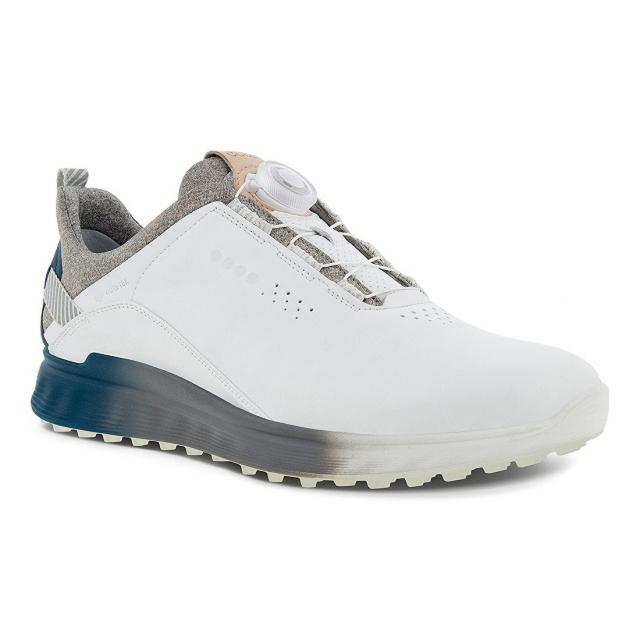 エコー ゴルフシューズ エス スリー ボア S-THREE BOA ダイヤル式スパイクレスシューズ EG102914 キャンペーンもお見逃しなく ゴルフ 超美品再入荷品質至上 ECCO 3E ホワイト×ネイビー メンズ