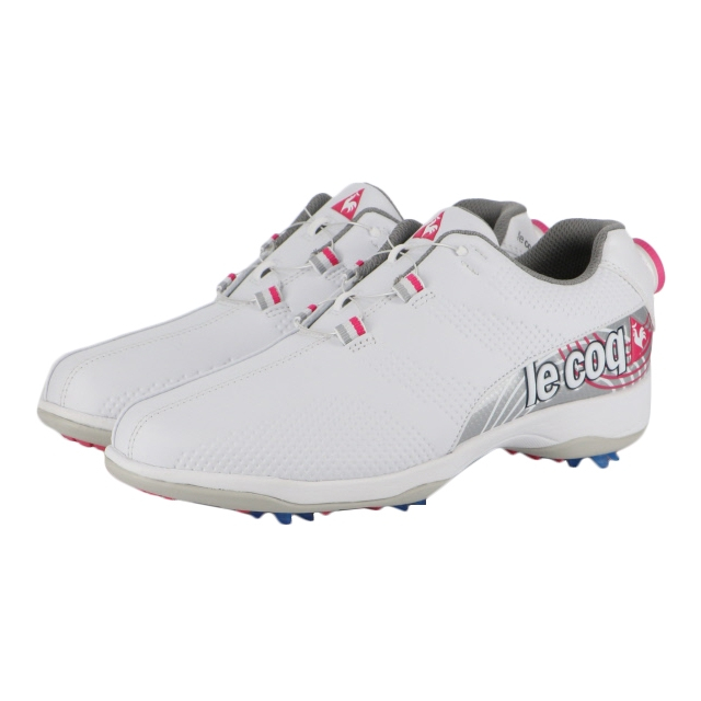 ルコック (QQ3NJA00) レディース ゴルフ ダイヤル式スパイクシューズ : ホワイト×ピンク le coq sportif