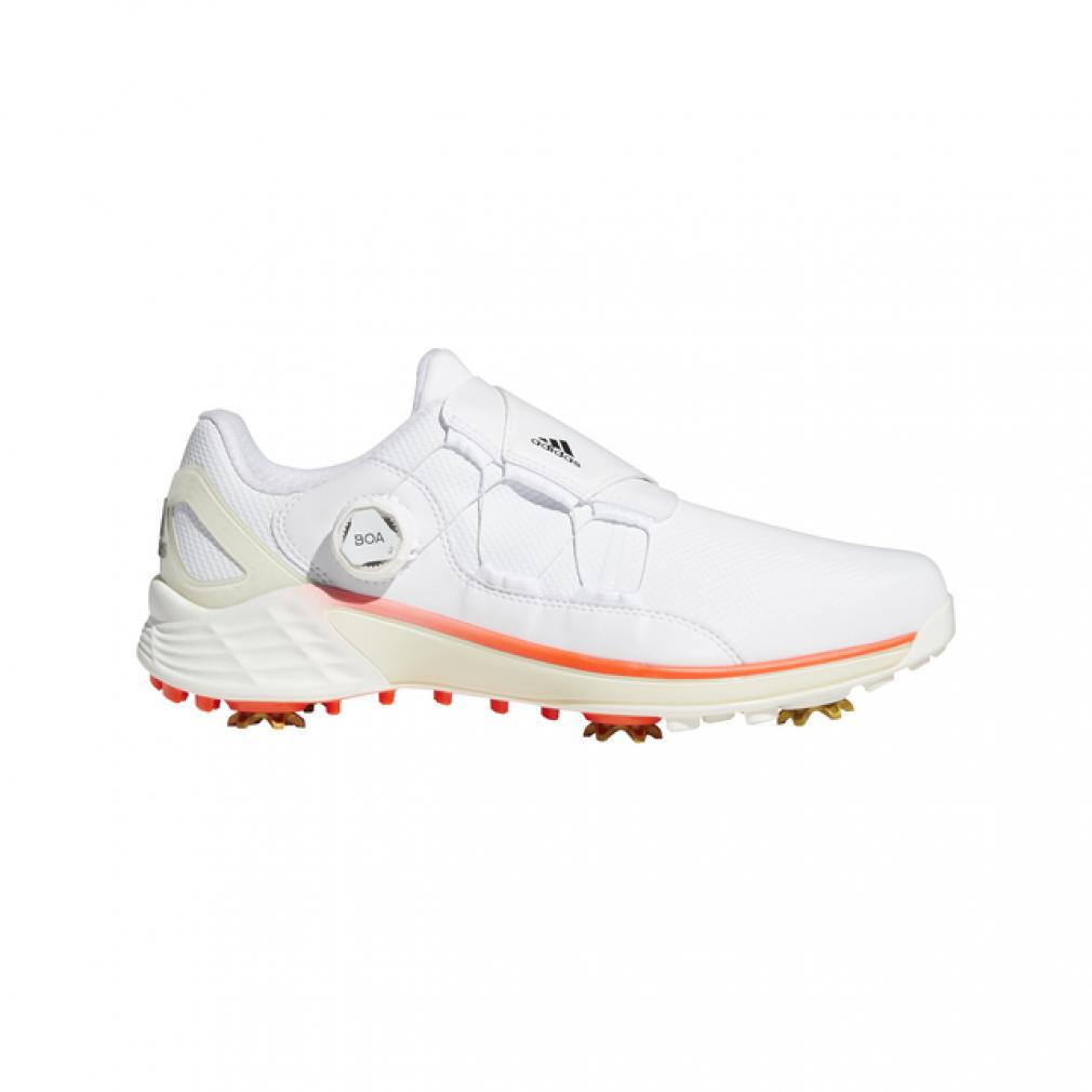売り出し アディダス ゴルフシューズ ZG ゼッドジー21 ボア KZI02 ホワイト×レッド 3E adidas 未使用 メンズ ダイヤル式スパイク 安定性とフィット感を両立したBOAモデル