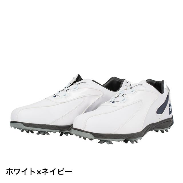 フットジョイ ゴルフシューズ 3E 19 EXL SP ボア WT/NV メンズ ゴルフ ダイヤル式スパイクシューズ 3E : ホワイト×ネイビー FOOT JOY FJ