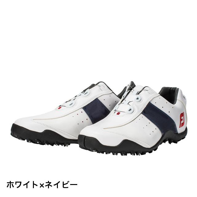 フットジョイ ゴルフシューズ 3E 18 EXL SL ボア WT/NV (45181) メンズ ゴルフ ダイヤル式スパイクレスシューズ 3E : ホワイト×ネイビー FOOT JOY FJ