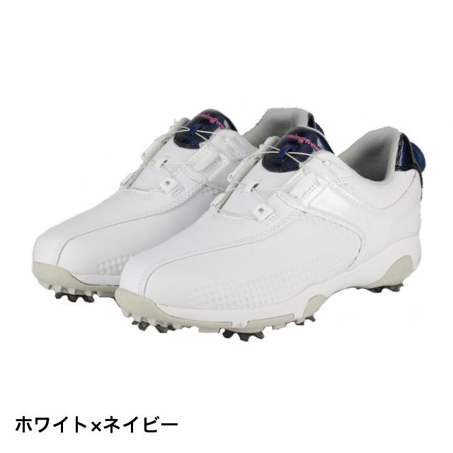 マンシングウェア ゴルフシューズ MQ3NJA00 レディース ゴルフ お得セット 安売り Munsingwear 3E ホワイト×ネイビー ダイヤル式スパイクシューズ