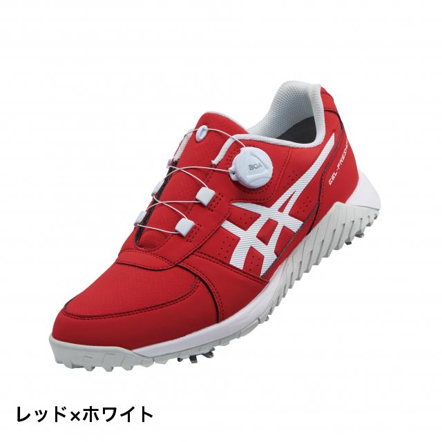 アシックス ゴルフシューズ GEL-PRESHOT BOA (1113A003) メンズ ゴルフ ダイヤル式スパイクシューズ 3E : レッド×ホワイト asics