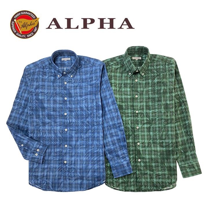 登場大人気アイテム 専門店 ギフト 日本製 1897年創業 株式会社アルファー ALPHA カジュアルシャツです 綿100%日本製メンズ 《送料無料》1897年創業アルファー カジュアルシャツ