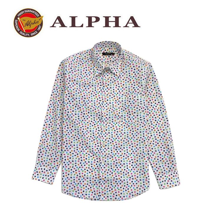 ギフト 日本製 1897年創業 株式会社アルファー ALPHA 日本製メンズ カジュアルシャツ 超人気 カジュアルシャツです 長袖シャツ プリント 《送料無料》1897年創業アルファー 中古