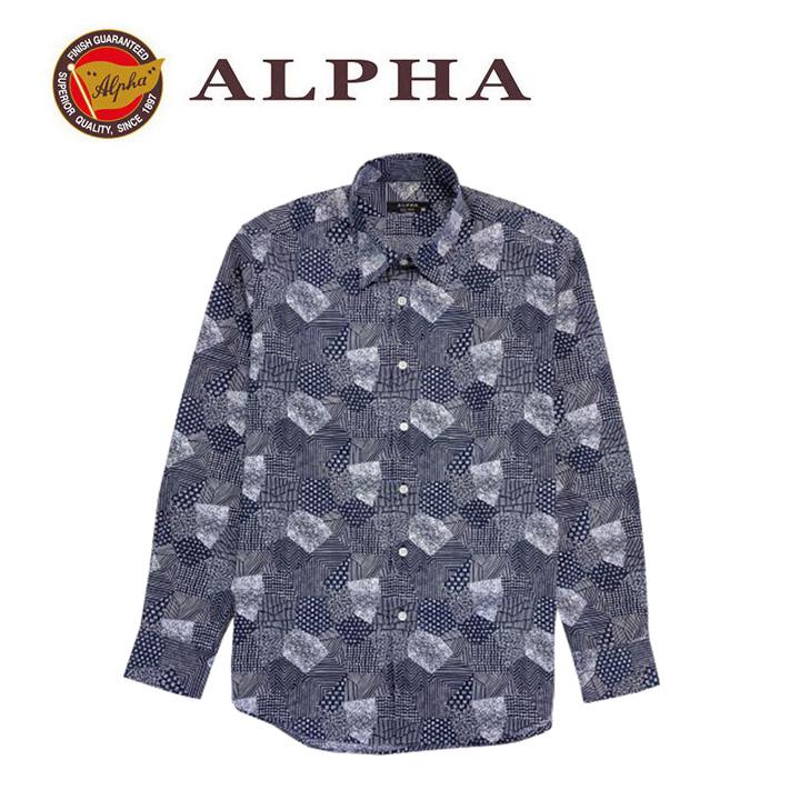 ギフト 日本製 1897年創業 激安特価品 株式会社アルファー ALPHA 日本製メンズ カジュアルシャツです 《送料無料》1897年創業アルファー プリント 直輸入品激安 カジュアルシャツ 長袖シャツ