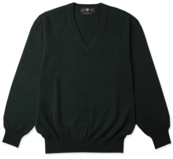 《送料無料》カシミヤセーター★1897年創業アルファー【ALPHA】日本製カシミヤ100%メンズ・Vネックセーター