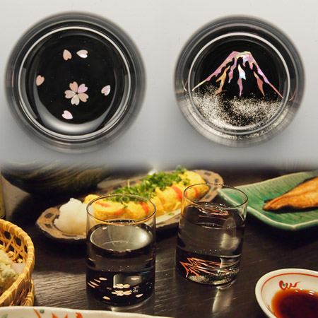 -AMANO-螺鈿ガラス「グラス 桜・富士」 酒器