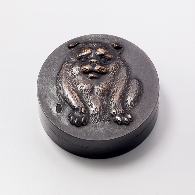 和風小物/高村光雲原型 肉池 朱肉入『福犬』オハグロ鋳銅製 桐箱入 T-20