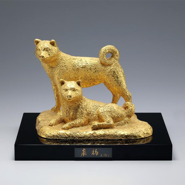 日本彫刻界の重鎮 富永直樹先生の逸品です。 干支 犬 置物/来福『戌』 鋳銅製 富永直樹作 塗板立札付き 桐箱入 T-05