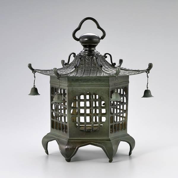 伝統と美の逸品 庭置物 燈籠「六角格子灯籠」59-14