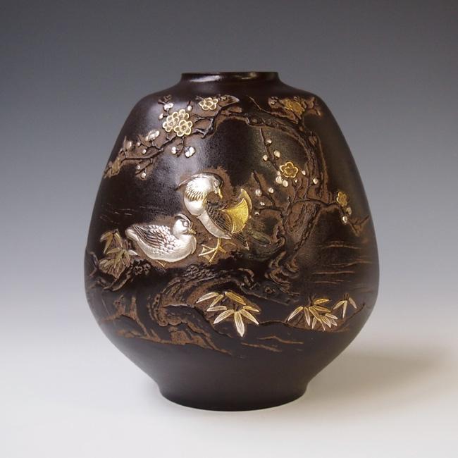 花瓶/「おしどり」銅製 村田 宏作 104-52