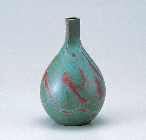 花瓶/徳利型「四方口」銅製 般若勘渓作 95-52