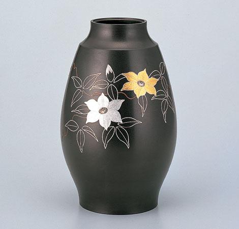 花瓶/鼓型「テッセン銀線象嵌」9号 銅製 中谷秀山作 桐箱入 95-55