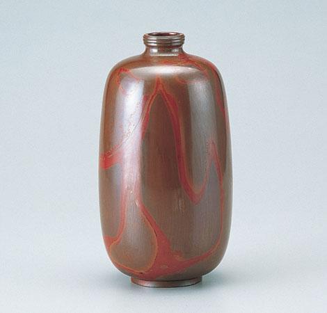 花瓶/「まゆ形」銅製 正晴作 97-52