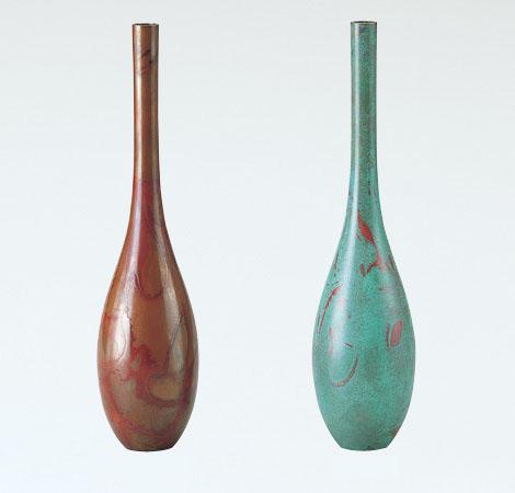 花瓶/「曽呂利」銅製 能作吉秀作 97-54(赤)/97-55(緑)