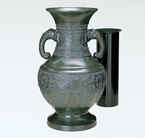 花瓶/達磨型 20号「菖蒲地紋」青銅製 真峰作 98-59
