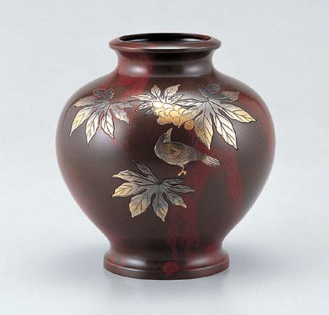 花瓶/壷形「楓に鳥」銅製 山本秀峰作 101-53