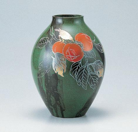 花瓶/新坪形 10号「柿」銅製 山本秀峰作 100-53